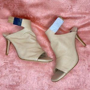 NEW TIGER OF SWEDEN beige leather peep toe heels